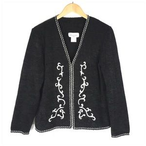 Black Sweater Cardigan Hook Eye Closure Medium